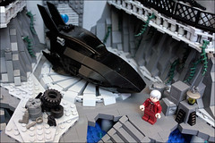The BATCAVE- first floor and Batboat (Fianat) Tags: castle rock dark batcave lego space bruce bat batman knight cave the