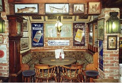Bye bye bygones. (davidezartz) Tags: leica old uk greatbritain pink blue red england brown white fish signs black green clock lamp yellow analog vintage menu table grey frames bottle lomography pub village chairs antique interior taxidermy isleofwight lamps nondigital bye stools advertisements soe byebye brickwork 1893 realale iow arreton publichouse oldeworlde bygones coth 35mmcamera thegalaxy 1000years trafficfree bygonedays leicaz2x analoguephotography platinumheartaward betterthangood mygearandme arretonoldvillage rememberthatmomentlevel1 rememberthatmomentlevel2 rememberthatmomentlevel3 byebyebygones