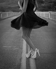 done (14 of 19) (Tony Saldana Photography) Tags: road street bridge blackandwhite white abandoned fashion photo blackwhite model dress photoshoot modeling vogue heels karina blackdress highfashion heals