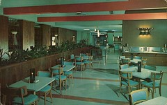 Glass House Cafeteria, Will Rogers Turnpike, Vinita, Oklahoma (SwellMap) Tags: architecture vintage advertising restaurant design pc cafe 60s fifties postcard suburbia style diner kitsch retro truckstop nostalgia chrome americana 50s roadside cafeteria googie populuxe sixties babyboomer consumer coldwar snackbar eatery midcentury spaceage driveinrestaurant atomicage