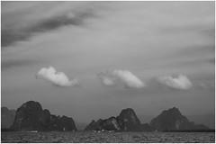 Three Rocks / Three Clouds (Thunderbird61) Tags: blackandwhite bw seascape monochrome clouds landscape thailand rocks asia zwartwit nb sw phuket zw negroyblanco