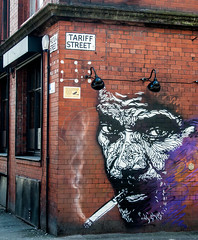 smoking on the corner of Tariff street (PDKImages) Tags: street colour art beauty manchester graffiti pain african oppression murals bee walls suffering contrasts statements anthonyburgess artinthecity thoughtprovoking manchesterstreetgallery