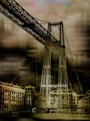 Puente Colgante (seguicollar) Tags: arquitectura bilbao portugalete nervión hierro puentecolgante photomanipulación imagencreativa virginiaseguí