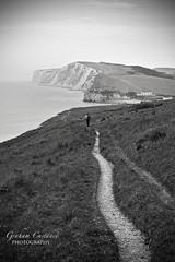 West Wight Walk (gracust) Tags: ocean sea blackandwhite seascape nature landscape island mono walk hill cliffs isleofwight footpath walkers freshwaterbay