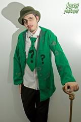 IMG_0600 (Neil Keogh Photography) Tags: male cane shirt comics glasses suit jacket questionmark bowlerhat batman cosplayer dccomics pant theriddler arkhamasylum walkingcane arkhamcity arkhamknight salfordcomiccon2016