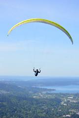 Into the Air (Sotosoroto) Tags: flying washington hiking paragliding tigermountain poopoopoint dayhike chiricotrail