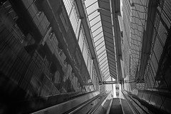 Underground escalator taking people up to city street downtown Seattle (Jim Corwin's PhotoStream) Tags: seattle city travel sky urban blackandwhite bw metal horizontal architecture modern moving downtown technology lift bright interior elevator escalator steps cities engineering stairway upstairs indoors direction staircase transportation commute future goals commuter levels shaft ascent descending escalater absence ascending upanddown movingup urbanscene movingdown photogaraphy elevater diminishingperspecitve