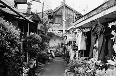 Laundry Shop (Purple Field) Tags: street bw film monochrome analog 35mm walking indonesia 50mm alley fuji kodak iso400 rangefinder jakarta laundry neopan signboard  f28 schneider retina kreuznach  presto      iic         retinaxenon