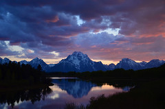 Oxbow Bend Sunset (cagleswanderlust) Tags: sunset mountains nature clouds reflections landscape nationalpark snakeriver wyoming grandteton grandtetonnationalpark oxbowbend deannacagle