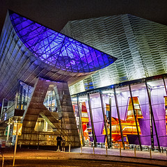 Entrance to Lowry Theatre (HelenBushe) Tags: architecture night manchester lights design theatre entrance illuminated salford quays lowry