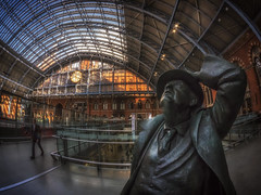 Betjeman At St Pancras (Mike Hewson) Tags: london station statue architecture lumix railway fisheye panasonic stpancras 75mm betjeman gx8 photo24 samyang micro43 microfourthirds