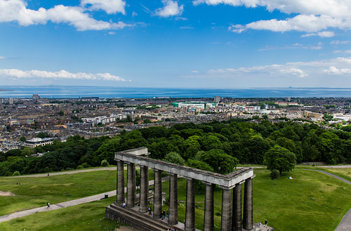National Monument of Scotland and skyline Edinburgh