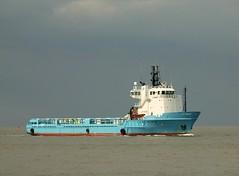 """Blue Bella"" approach Cuxhaven - ""Blue Bella"" nähert sich Cuxhaven. (irishvillage) Tags: boat cuxhaven motorvessel versorger olympuse620"