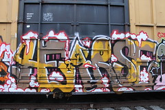 Hearse (Benching In The West) Tags: brown yellow train graffiti graf bubbles trains fresh funk rails meow railfan hearse freight boxcars tagger rollingstock bobkat