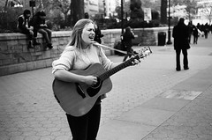 singing to the square (Pine Ear) Tags: street leica nyc bw film kodak guitar manhattan candid trix 400 busker unionsquare m6 busk