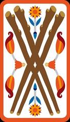 4 de Bton (aluniverse) Tags: cavalier reine valet roi btons tarotdemarseille arcanesmineurs arcanemineur asdebton