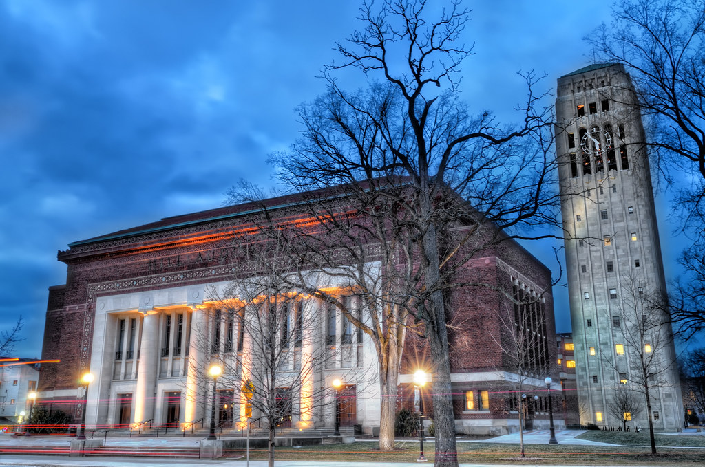 Hill Auditorium and Burton Memorial Tower at dusk