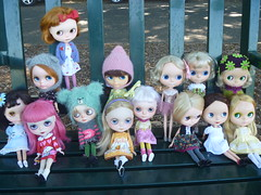 Here we have all the girls including Tracey's girls enjoying a park bench!
