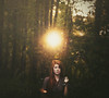 Only so much time in a single day (Shelby Robinson) Tags: blue light sunset red portrait sun tree girl leaves self canon hair rebel 50mm eyes woods arm watch stick f18 t1i pockethand
