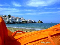 the view from the beach is lovely (dimitra_milaiou) Tags: life blue houses sea sky orange lighthouse colour castle love beach colors architecture clouds bag island greek nokia sand holidays europe view aegean hellas visit greece hora shape chora andros cyclades dimitra x6  kyclades     paraporti  tourlitis milaiou