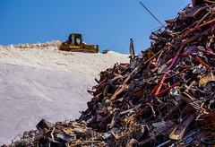 Recycling Landscape (Bob Jagendorf) Tags: yellow metal newjersey sand rust elizabeth machine newark