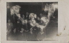 Photograph of Group with Cloud of Spirit Faces - Ada Emma Deane - Real Photo Postcard (Photo_History - Here but not Happy) Tags: england extras spiritualist realphotopostcard spiritphotograph adaemmadeane