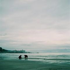 untitled (Kahori YAGI_Kahoring) Tags: blue sea sky 120 film beach boys clouds zeiss square seaside fuji horizon wave seashore paleblue p6 pentaconsix fujicolor czj 66 carlzeissjena biometar pro400