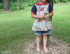 Oliver + S puppet show tunic and shorts (leaandlars) Tags: blue red girl shirt japanese sewing details clothes polkadots puppetshow olivers tunic