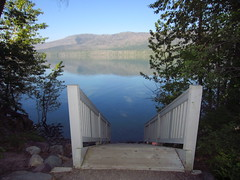 Sprague Creek Picnic Area, Lake McDonald - 2 [This staircase leads to a small beach area as the water level drops throughout the summer.] (GlacierNPS) Tags: wedding nationalpark montana nps glacier weddings glaciernationalpark nationalparkservice weddinglocations lakemcdonald lakemcdonaldvalley