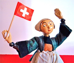 It's Swiss National Day! (Mister Mushroom) Tags: switzerland doll swiss flag bucherer 1august august1st swissnationalday becassine