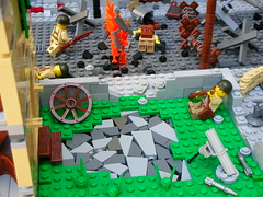 Saint Lo (Cool Whip) Tags: world city 2 saint soldier town big cool war tank lego jeep destruction wwii battle scene lo german whip ww2 motor destroyed axis allies amercian moc brickarms