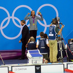 Medal Ceremony, Swimming, Aquatics Centre, Olympic Park, Stratford, London, England, UK