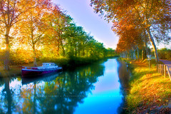 IMG_6150_00_HDR_HD (NumricArt) Tags: nature water automne de landscape soleil canal eau coucher du midi paysage soir pniche crpuscule hdr saison cluse platanes