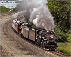 Nickel Plate 765 Eastbound at Sewickley (Images by A.J.) Tags: road railroad ohio heritage train river tren pittsburgh lima pennsylvania ns norfolk engine rail railway plate trains steam special southern pa nickel locomotive passenger ge berkshire bahn treno freight chemin trein sewickley ferrocarril excusion  ferroviario nkp 284   gevo ferroviaire es44ac
