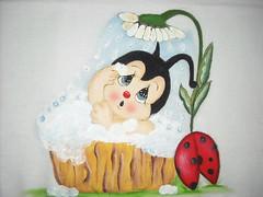 Pano de Prato Joaninha no banho (Pintura em tecido. Panos de prato.) Tags: joaninha panosdeprato panodecopa