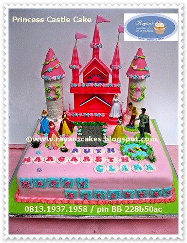 Disney Princess Castle Birthday Cake Fondant Kue
