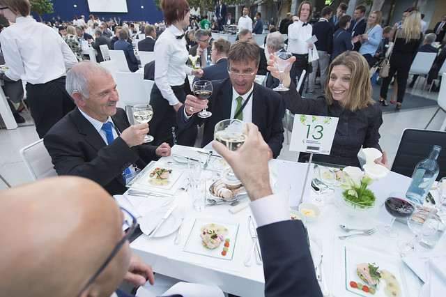 Attendees raise a toast