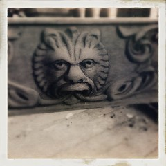 lion detail on our old porch chair (karenchristine552) Tags: usa philadelphia spring westphiladelphia pennsylvania pa philly westphilly universitycity iphone hipstamatic