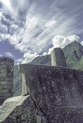 Peru : Machu Picchu #12 (foto_morgana) Tags: sky peru southamerica architecture clouds outdoor ritual machupicchu nikoncoolscan analogphotography unescoworldheritage incatrail historicalsite mountainous analogefotografie vuescan urubambavalley travelexperience photographieanalogue