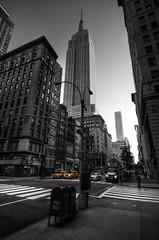 Fifth Ave (Brandon Godfrey) Tags: newyorkcity newyork nyc thebigapple ny empirestatebuilding esb manhattan cabs taxis selectivecolor selectivecolour blackandwhite bw fifthavenue morning usa unitedstatesofamerica unitedstates