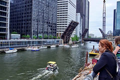 The boat lifts are an entertaining spectacle. (bkkay1) Tags: summer chicago chicagoriver sailboats gears bridgelifts