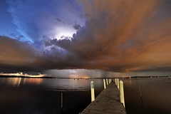 Updraft Tower (Kirby Wright) Tags: sunset sky cloud lake storm tower uw wisconsin night docks boats pier nikon long exposure university angle wide madison thunderstorm lightning mendota f28 anvil updraft 14mm inflow rokinon madison365 d700