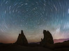 Star Trails over Alabama Hills and Tooth Rocks (Dave Toussaint (www.photographersnature.com)) Tags: night incisors toothrock star startrails circle longexposure slow shutter speed highway395 hwy395 granite rock geology sky skies sierranevada easternsierra sierra eastern lonepine glow alabamahills southerncalifornia california ca usa explore interesting interestingness nature travel landscape raw adobe photoshopcc topazlabs adjust denoise canon 40d photographersnaturecom photo picture photographer 2011 june davetoussaint
