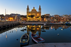 Maltese Peace (Allard One) Tags: longexposure church architecture marina reflections boats island march spring nikon cityscape republic peace scenic illumination peaceful malta boten le bluehour maltese lente kerk eclectic harsh bold archipelago gettyimages fishingvillage 2012 parishchurch verlichting harbourtown vredig msida singleraw nikcolorefexpro d700 nikond700 nikkor2470mmf28 mediterraneancountry nikonfx allardone allard1 duohardstrak imsida fullframepower saintjosephpatronsaint theholyconception afishermansdwelling allardschagercom