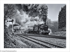 madness.............................. (4macfotography) Tags: white snow black cold tree lamp landscape hall spring track smoke engine railway steam locomotive signal exhaust sleet gcr 4953 pitchford