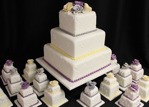Classic White Wedding Cake with Mini Wedding Cakes