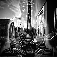 Yin and Yang (Dom Guillochon) Tags: california light blackandwhite usa art peace shadows sandiego noiretblanc buddha being zen yinandyang northpark ombres polaropposites domguillochon