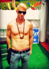 Pride Man (danimaniacs) Tags: shirtless man hot sexy pecs sunglasses nipples chest hunk pride jeans blond denim navel abs