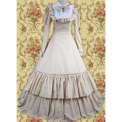 Beige Long Sleeves Ruffled Double-Layer Bow Cotton Classic Lolita Dress (vsealzkmuns57) Tags: classic beige long dress lolita cotton bow sleeves ruffled doublelayer
