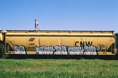 Civ, Bkat (BayAreaGraff) Tags: california railroad film train 35mm canon graffiti bay ae1 aaron trains east boxcar eastbay lib freight civ freights ftl benching bobkat